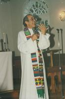 Photograph of Nouwen speaking at wedding