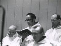 Photograph of Nouwen with Br. Alexis, Br. Michael and Fr. Francis