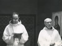 Photograph of Nouwen and Fr. Regis at the Abbey of the Genesee