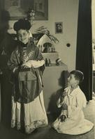 Photograph of Henri and Paul Nouwen playing dress up